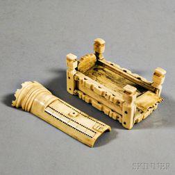 Small Carved Whalebone Game Box