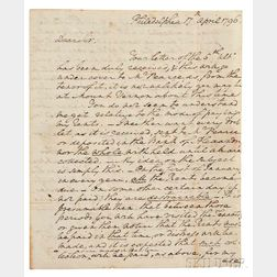 Washington, George (1732-1799) Autograph Letter Signed, Philadelphia, 17 April 1796.