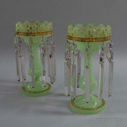 Pair of Green Opaline Glass Lustres with Cut Prism Pendants