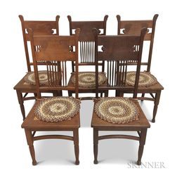 Set of Five Late Victorian Carved Oak Side Chairs