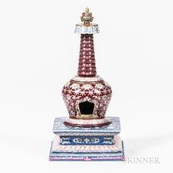 Famille Rose Buddhist Stupa on a Square Base
