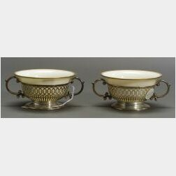 Six American Sterling Silver and Porcelain Two-handled Soup Bowls