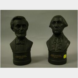 Wedgwood Black Basalt Busts of George Washington and Abraham Lincoln.