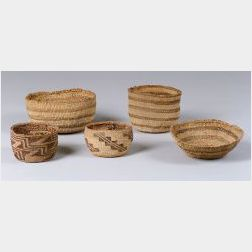Five California Twined Basketry Bowls