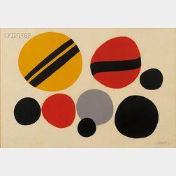Alexander Calder (American, 1898-1976)      Chevrons noir sur rouge jaune
