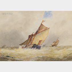 Frederick James Aldridge (British, 1850-1933)      Racing the Storm.