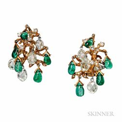 18kt Gold, Emerald, and Diamond Earclips, Julius Cohen