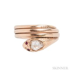 14kt Gold and Rose-cut Diamond Snake Ring