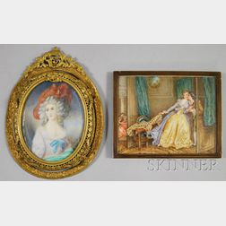 Two Framed French Painted Miniatures on Ivory