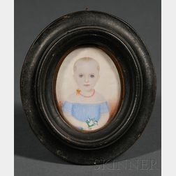 Portrait Miniature of a Child Wearing a Blue Dress
