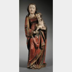 Polychrome and Giltwood Carving of the Madonna and Child