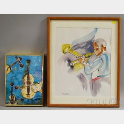 Two Works:      Nancy S. Alimansky (American, 20th/21st Century), Portrait of a Trumpet Player