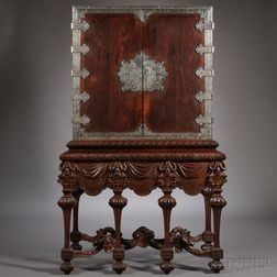 Dutch Colonial Late Baroque-style Silver-mounted Hardwood Cabinet on Stand