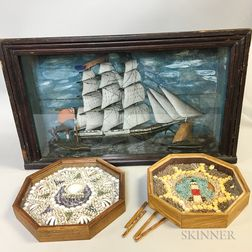 Diorama of a Ship and Two Framed Sailor's Valentines
