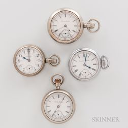 Four 18 Size Hamilton Open-face Watches