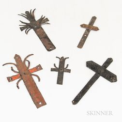 Five Haitian Iron Crucifixes