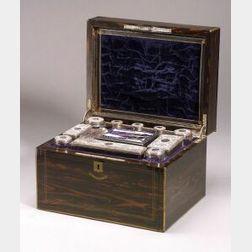 Scottish Victorian Brass-Bound Calamander Necessaire Case