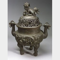 Large Chinese Bronze Incense Burner.