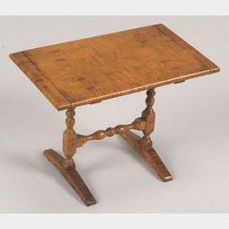 Miniature Tiger Maple Trestle Table