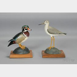 Carved and Painted Wood Duck and Greater Yellowlegs