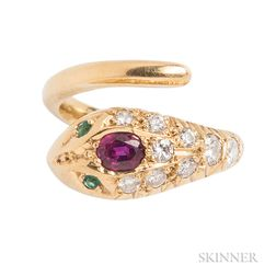 18kt Gold, Ruby, and Diamond Snake Ring