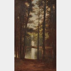 Benjamin Champney (American, 1817-1907)      Wooded Landscape with Pond
