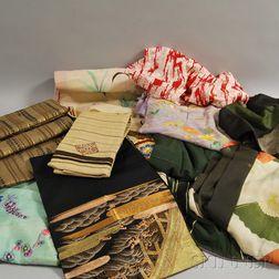 Group of Kimono and Obi Sashes
