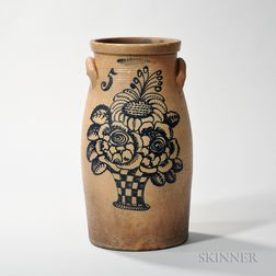 Five-gallon Cobalt-decorated Churn