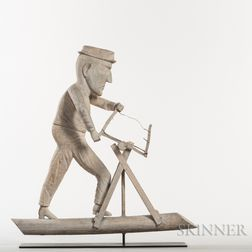 Carved and White-painted Woodsman Weathervane