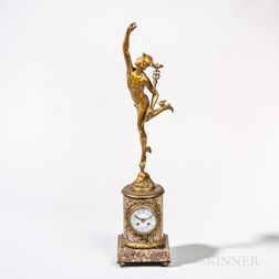 Grand Tour Tiffany Gilt-bronze and Marble Figural Clock