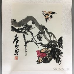 Unframed Painting Depicting a Songbird and Pomegranate