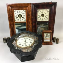 Three Connecticut Shelf Clocks and Two Wall Clocks