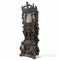 Monumental Carved English Oak Quarter-chiming, Musical, Triple Calendar Hall Clock