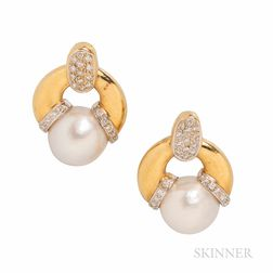 18kt Gold, Cultured Pearl, and Diamond Earrings