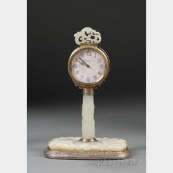 Silver and Jade Clock