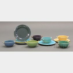 Six Paul Revere Pottery Bowls, Five Plates, and One Saturday Evening Girls Plate
