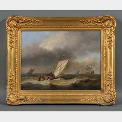 Attributed to Thomas Luny (British, 1759-1837)      Fishing Boat and Distant Vessels with Approaching Storm.