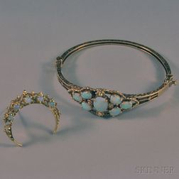Two 14kt Gold and Opal Jewelry Items