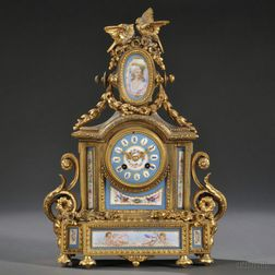 Sevres-style Porcelain-mounted Gilt Metal Mantel Clock