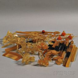 Group of Amber Resin Comb and Kanzashi   Hairpins