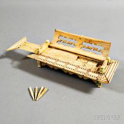 Polychrome Carved Whalebone Decorated Game Box