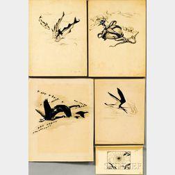 Else W. von Roeder Bostelmann (German/American, 20th Century) Five Illustrations: Canada Geese in Flight, Starfish, Three Fish, Shorebi