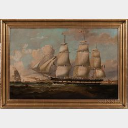 American School, 19th Century      Portrait of the Three-masted Vessel Maine