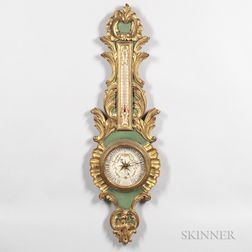 Louis XVI-style Gilt and Painted Wall Barometer