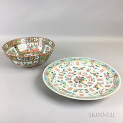 Enameled Charger and a Rose Medallion Punch Bowl