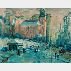Arthur Clifton Goodwin (American, 1866-1929)      Park Street in Snow