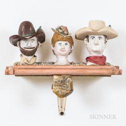 Wall Shelf Bracket with Three Folk Art Ceramic Heads
