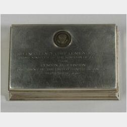 Gorham Sterling Silver Lyndon B. Johnson Presidential Presentation Cigarette Box