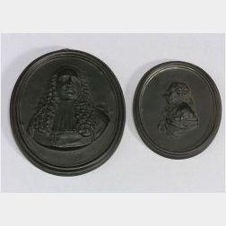 Two Wedgwood Black Basalt Portrait Medallions