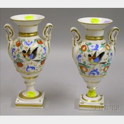 Pair of Paris Porcelain Gilt and Hand-painted Mantel Vases